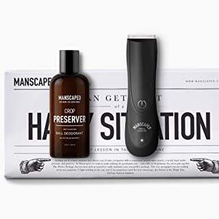 Men's Grooming Kit, Includes Ergonomically Designed Powerful Waterproof Manscaping Trimmer, Nuts and Bolts 2.0 by Manscaped, and Crop Preserver Ball Deodorant plus FREE Disposable shaving mats