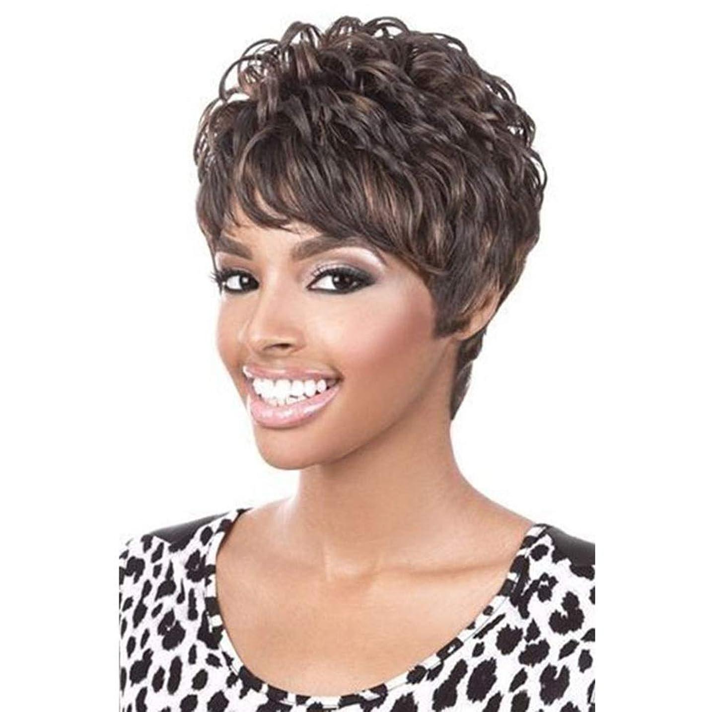 音楽を聴く誰ゲインセイYrattary 前髪+無料かつらキャップ付きの女性の人工毛のための短い茶色のかつらコスプレかつら (色 : ブラウン)
