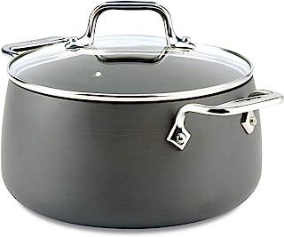 All-Clad E7854464 HA1 Hard Anodized Nonstick Dishwasher Safe PFOA Free Soup Pot/Stock Pot Cookware, 4-Quart, Black