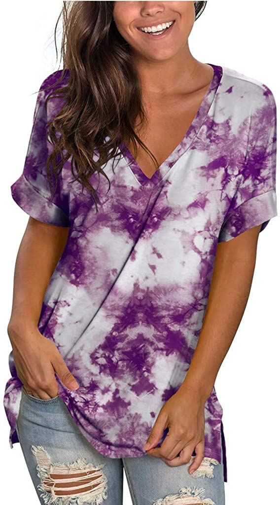 Aniwood Summer Tops New Award-winning store arrival for Women Roll Loose Short Neck V Sleeve Up