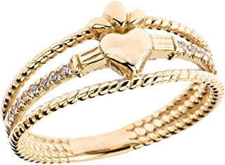 Modern 14k Yellow Gold Diamond 3-Row Claddagh Rope Engagement/Proposal Ring