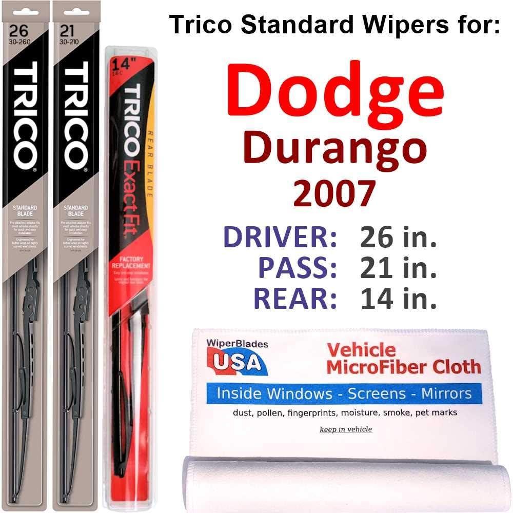 Wipers for 2007 Dodge Durango 2020 Set Trico セール 特集 Rear Steel w