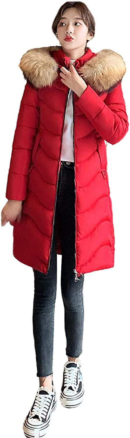 watersouprty Women's Winter Thicken Puffer Coat Warm Jacket with Faux Fur Removable Hood