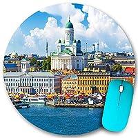 KAPANOU ラウンドマウスパッド カスタムマウスパッド、フィンランド、ヘルシンキの旧市街埠頭にあるマーケット広場(カウッパトリ)の風光明媚な夏のパノラマ、PC ノートパソコン オフィス用 円形 デスクマット 、ズされたゲーミングマウスパッド 滑り止め 耐久性が