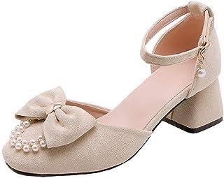 BalaMasa Womens ASL06354 Pu Block Heels