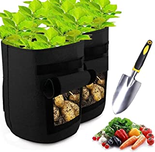 Grow Bags for Potato, 10 Gallon 2-Pack Garden Growing Bags, Planting Bags for Vegetables/Tomatoes/Carrots/Flowers/Plants, ...