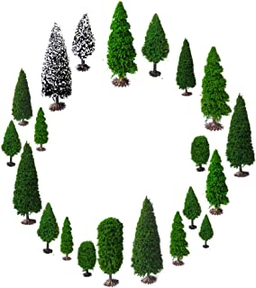 OrgMemory Mixed Model Trees with Base, Diorama Supplies, Model Train Scenery, Woodland Scenics, (19pcs, 2-6 inch /5-15 cm), Ho Scale Trees, Miniature Trees with Bases