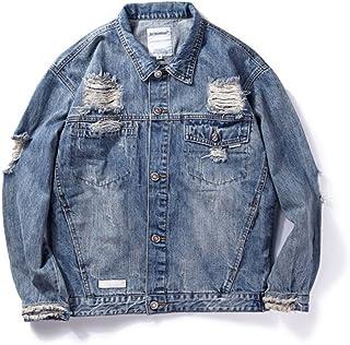 fjubjv Gli Uomini Sono Casualmente Giacca Jeans Mens Una Giacca di Jeans Collare,Mappa di Colori,XL Abbigliamento da esterno