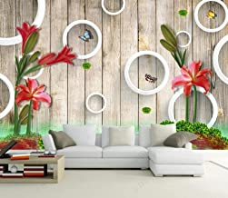 Wallpaper 3D Wall Pattern Wooden Wooden Pattern Red Flowers Mural Wall Painted Wallpaper Living Room Tv Background Wall 3D...