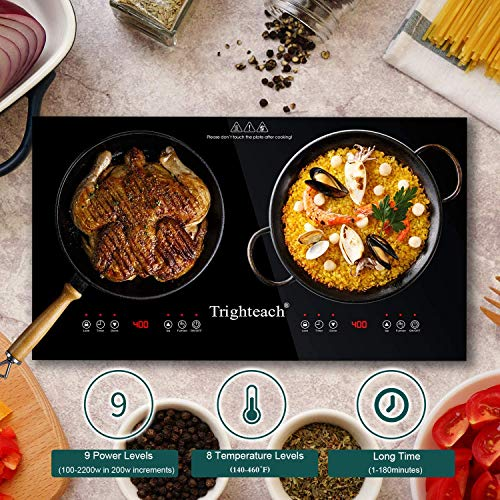 Product Image 5: Trighteach Portable Induction Cooktop(Double Countertop Burner) 2200W Electric Stove with Digital Touch Sensor and Kids Safety Lock, 9 Power Levels Induction Cooker Suitable for Magnetic Cookware