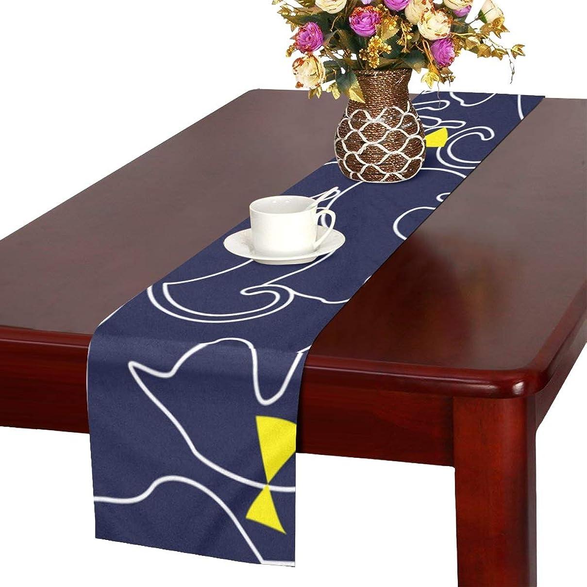持参支配する打ち上げるGGSXD テーブルランナー 面白い ブルー猫 クロス 食卓カバー 麻綿製 欧米 おしゃれ 16 Inch X 72 Inch (40cm X 182cm) キッチン ダイニング ホーム デコレーション モダン リビング 洗える