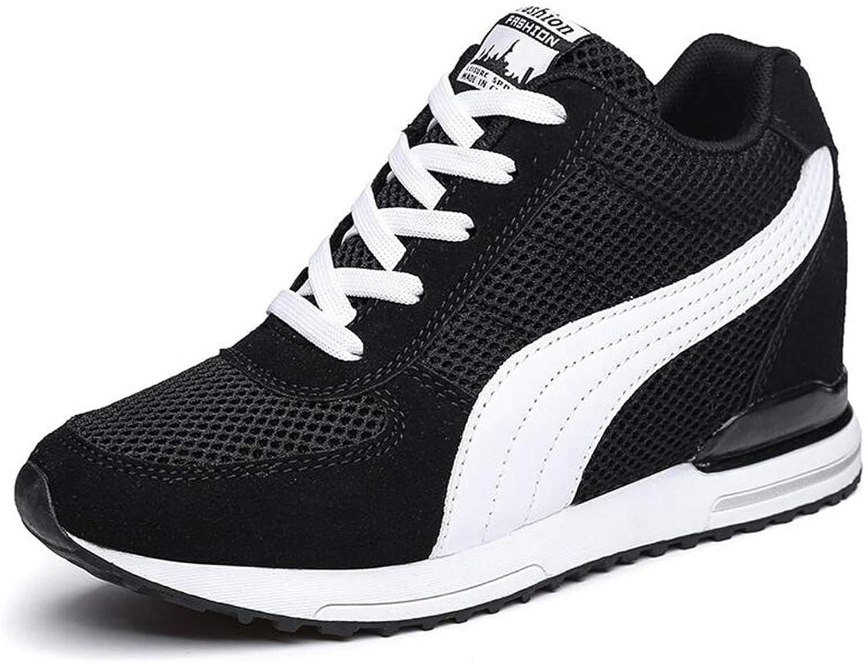 ASO-SLING Womens Hidden Heeled Wedge Sneakers Platform Air Mesh Comfort Casual Walking Tennis Trainer shoes