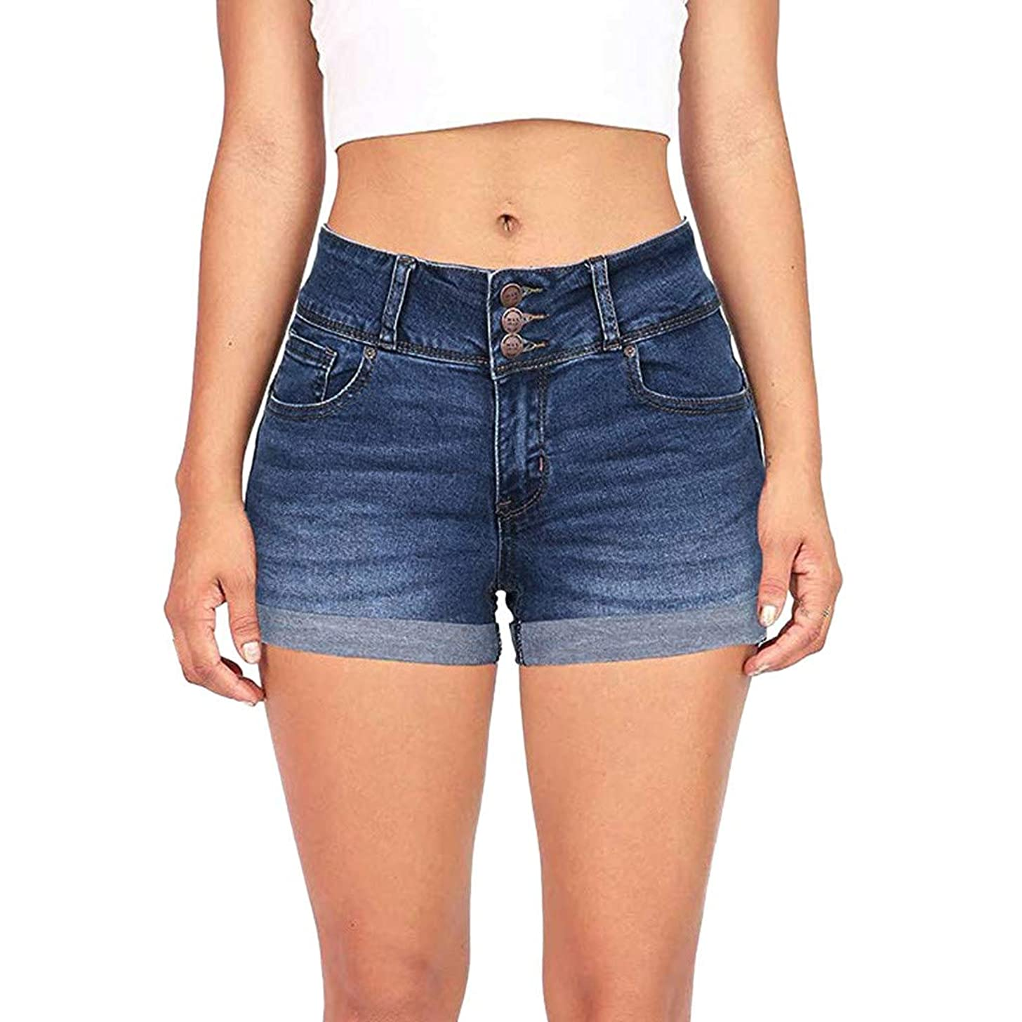 Goddessvan 2019 Women Low Waisted Washed Short Mini Jeans Softener Denim Pants Shorts with Three-Breasted Buckle