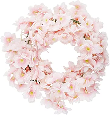 CEWOR 4pcs Artificial Cherry Blossom Flower Vines Hanging Silk Flowers Garland for Wedding Party Home Decor Japanese Kawaii D