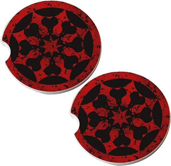 Red Stamp Absorbant Sandstone Car Drink Coaster Set Set Of 2 Car Coasters