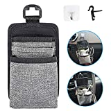 ROSON Car Air Vent Storage Bag Organizer Driver Pockets Sunglass Holder Phone Holder Coin Key Card Pens Case with Double Hook (Silver)