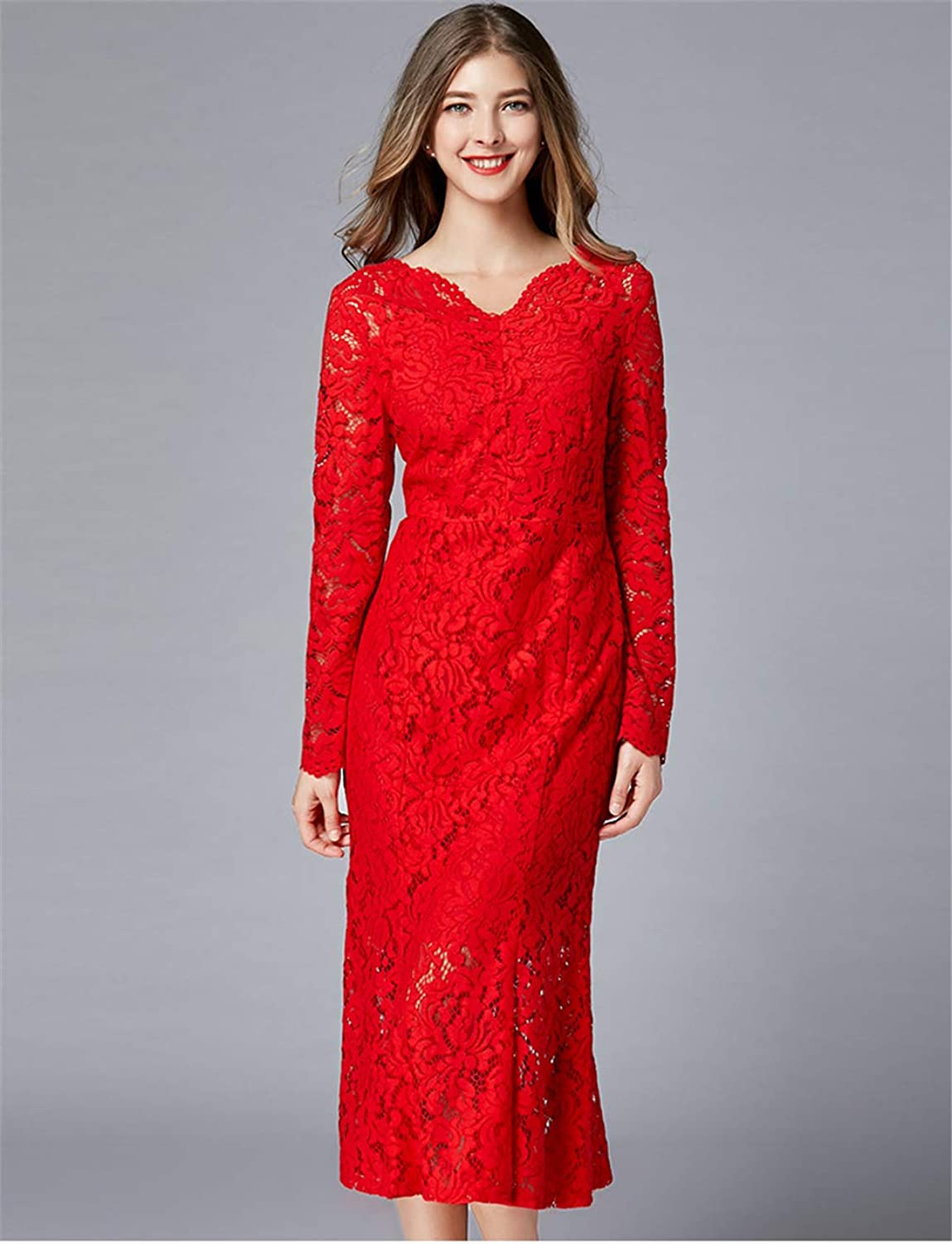 Dress Lace Red VNeck Long Sleeve Plus Size Cocktail Bride Wedding Party Clothing