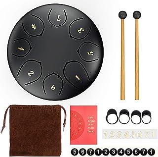Afloia Steel Tongue Drum/Tambor Metálico de Lengüetas 6 Pulgadas con 7 Notas Color Negro