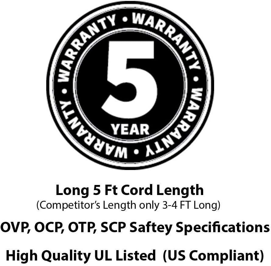 [UL Listed] OMNIHIL 5 Feet Long AC Power Cord Compatible with HP Deskjet 920c, 932c, 935c, 940c, 952c, 990c, GT 5810, GT 5820, 5520, 5640, 6520, 9300, 3020A, B611 Printers