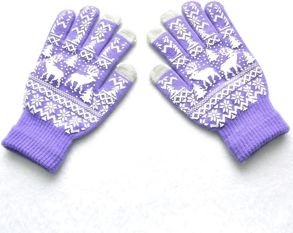 Christmas Warm Winter Gloves Snowflake Printed Knitted Touch Gloves Men Women Gloves Touch Screen Glove Party Supplies 18Nov - (Color: 0)