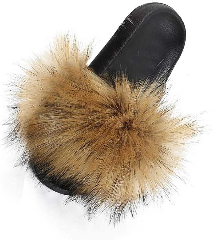 Slippers for Women Memory Foam,Fuzzy Fluffy Furry Fur House Slippers Flip Flop Open Toe Slides Sandals Flat Anti-Slip