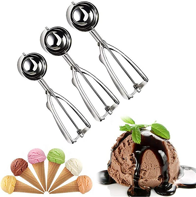 Cookie Scoop Set RW Chef Ice Cream Scoop Set 3 PCS 18 8 Stainless Steel Ice Cream Scoop Trigger Include Large Medium Small Size Melon Scoop Cookie Scoop