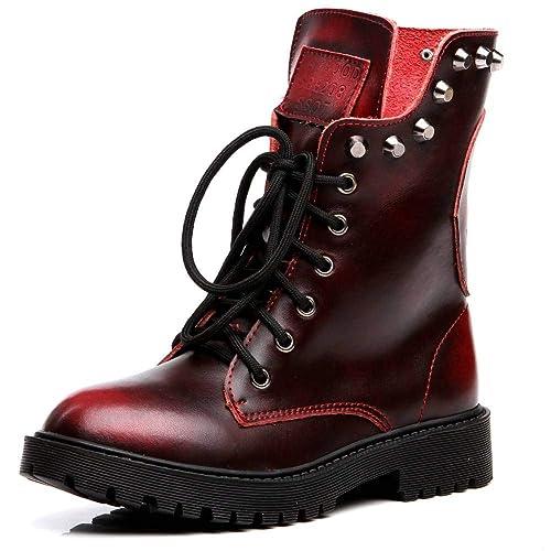 d3f7d963edd22 Shenn Women's Round Toe Knee High Punk Military Combat Boots