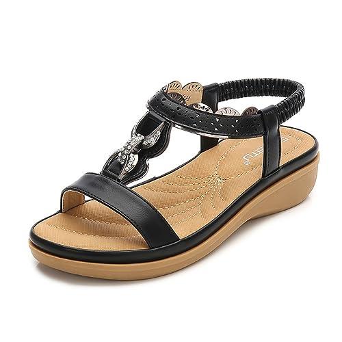 34914e433d1 Meeshine Women T-Strap Rhinestone Beaded Gladiator Flat Sandals Summer  Beach Sandal