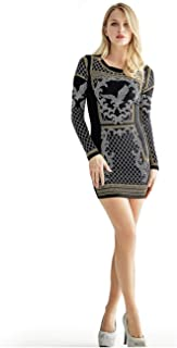 Kigcos Women's Long Sleeve Sexy Rhinestone Embellished Bodycon Slim Fit Club Mini Dresses