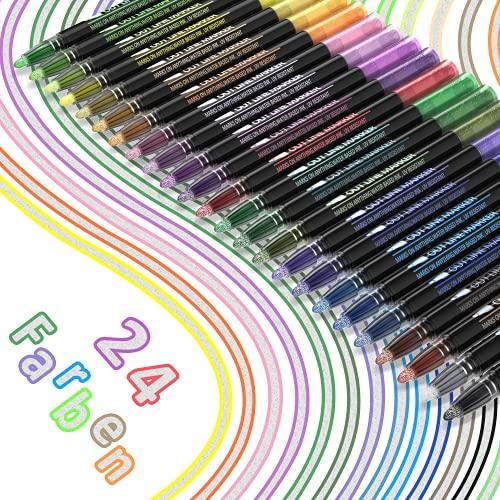 Outline PECOSSO - Rotuladores de 24 colores, resistentes al agua, con doble línea, uso versátil para planes, manualidades, tarjetas, pintura y pasatiempos