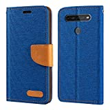 LG K51S Case, Oxford Leather Wallet Case with Soft TPU Back