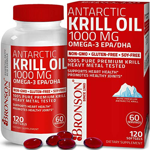 Bronson Antarctic Krill Oil 1000 mg with Omega-3s EPA, DHA, Astaxanthin and Phospholipids 120...