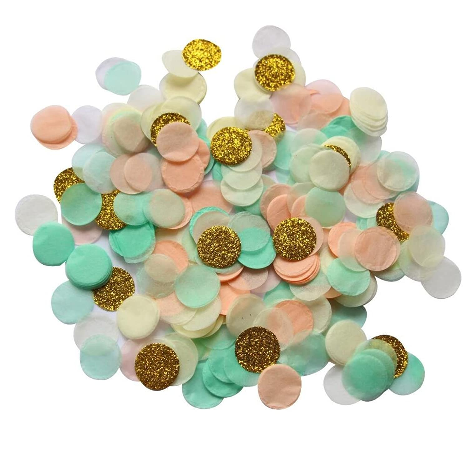 Mybbshower 1 Inch Mint Peach Gold Glitter Throwing Wedding Confetti Baby Bridal Shower Table Bachelorette Engagement Party Decoration Pack of 4000 Pieces