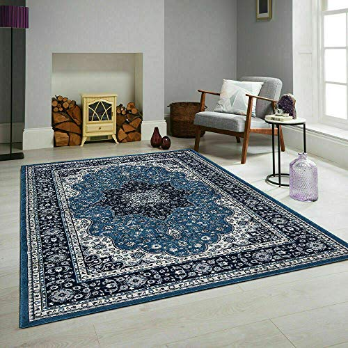 New Blue Elassa Floral Oriental Traditional Area Rugs Easy to Clean Stain Resistant Suitable for Living room Dinning Room… (280 x 380 cm (9 ft 1 in x 12 ft 4 in))