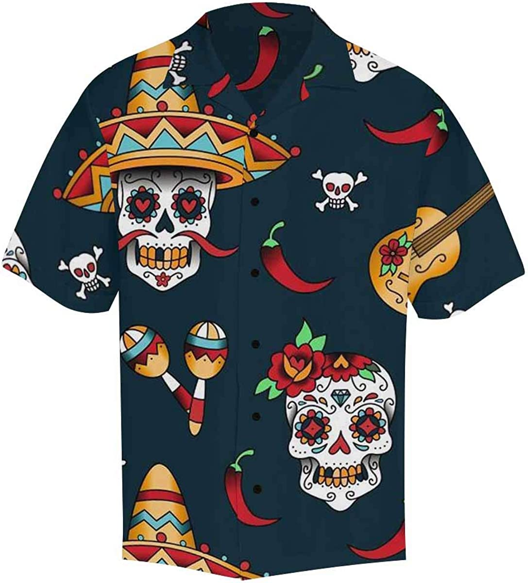 InterestPrint Men's All Over Printing Short Sleeve Hawaiian Shirt Casual Unique Design Mexican Sugar Skulls with Chili Pepper