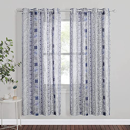 StangH Linen Sheer Curtains for Living Room - Blue Boho Patterned Semi Sheer Curtains Grommet Privacy Drapes for Bedroom / Dining, W50 x L72, 2 Panels