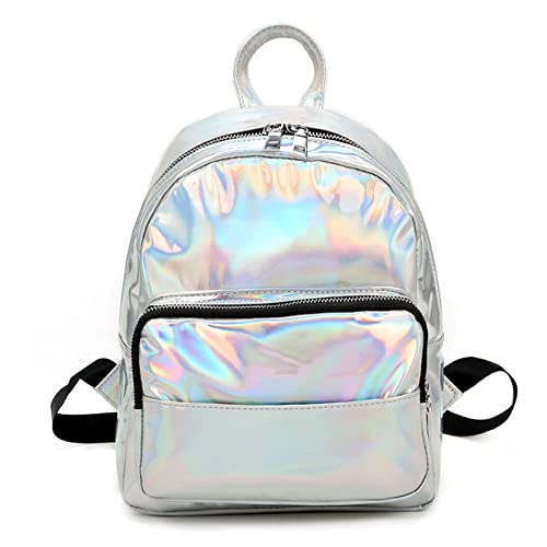 368b94a25fe5 Holographic Laser Leather Backpack for Girls Pink Silver Mini Backpack for  Women