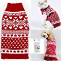 Bolbove Pet Red Snowflake Turtleneck Sweater for Small Dogs & Cats Knitwear
