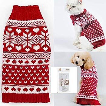 Bolbove pour Animal Domestique Rouge Flocon de Neige Pull à col roulé pour Petits Chiens et Chats en Tricot, X-Small, Rouge