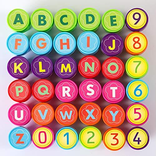 Kesote Conjunto de 26 Sellos Alfabeto y 10 Sellos Números Estampillas de Tinta Niño Regalo
