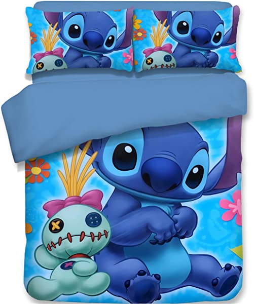 AMTAN 3D Lilo Stitch Bedding Set Kids Teens Duvet Cover Set Super Soft And Comfortable Decorative Bed Set 3 Pieces 1 Duvet Cover 2 Pillow Shams King Queen Full Twin Size