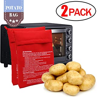 CCCSEE Potato Express Microwave Potato Bag Red,Washable and Reusable,Pouch Cooking in Just 4 Minutes Cooker Bag (2 Pack)