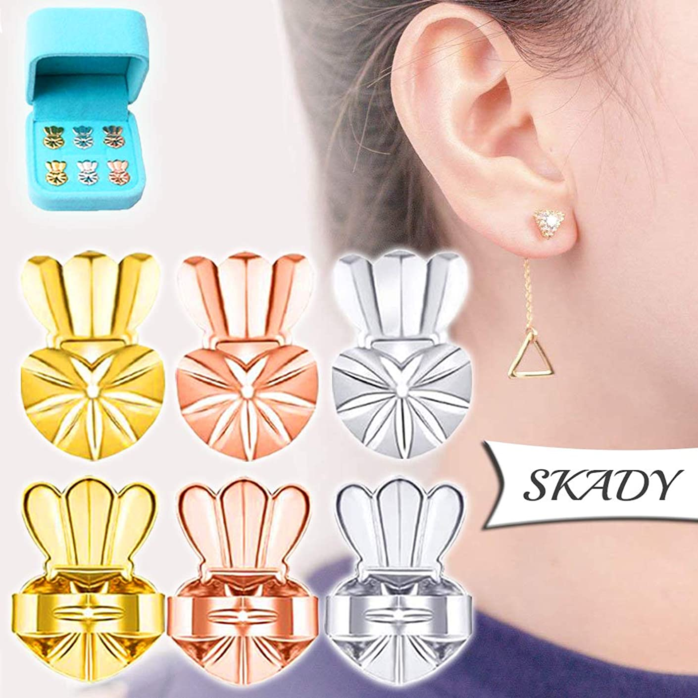 Earring Backs Lifters - 3 Pairs Ear Lift - Adjustable hypoallergenics Earing Backs Lifters - 1 Pair Gold Plated 1 Pair Silver 1 Pair Rose Gold Ear Lobe Support + Jewelry Case