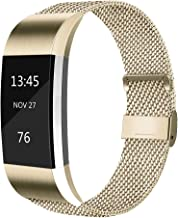 AK Metal Replacement Bands Compatible for Fitbit Charge 2 Bands, Stainless Steel Adjustable Wristband for Fitbit Charge 2 with Unique Magnet Clasp