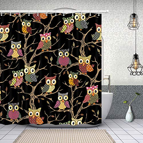 Funny Hippie Owls Shower Curtain Offers Colorful Cartoon Design