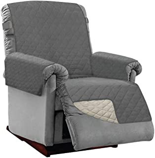 Best SOFA SHIELD Original Patent Pending Reversible Large Recliner Protector, Seat Width to 28 Inch, Furniture Slipcover, 2 Inch Strap, Reclining Chair Slip Cover Throw for Pet Dog, Recliner Charcoal Linen Review
