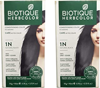 Biotique 2 Herbcolor No Ammonia Conditioning Hair Color (1n Natural Black, 50 g + 110ml)