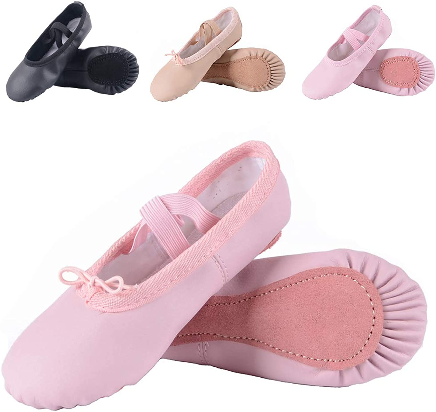 Ruqiji Ballet shoes for Girls Toddlers Kids,Black Canvas Ballet shoes Leather Ballet Slippers Dance shoes