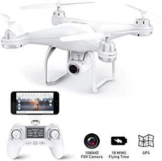 GPS Drone with Camera Live Video 1080P HD FPV RC Quadcopter Drones with Camera Follow Me Mode, Altitude Hold, Long Range Control, GPS Auto Return Home - BEEYEO White