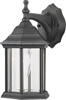 NOMA Six-Sided Outdoor Wall Lantern | Waterproof Outdoor Down-Facing Exterior Light for Front Door, Backyard, Garage, Patio or Decor | Black Finish with Clear Glass Panels